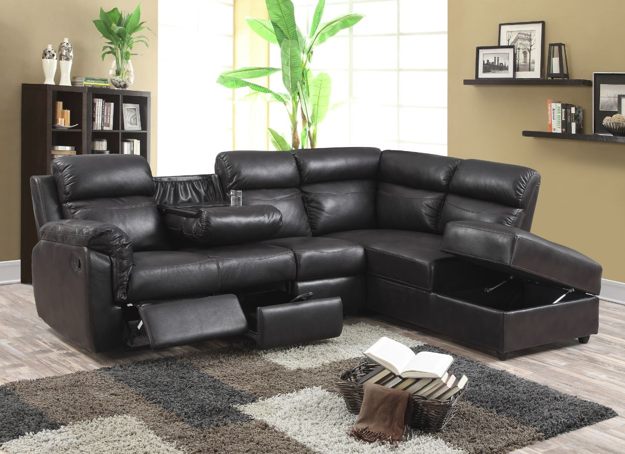 Leather Air Recliner Sectional