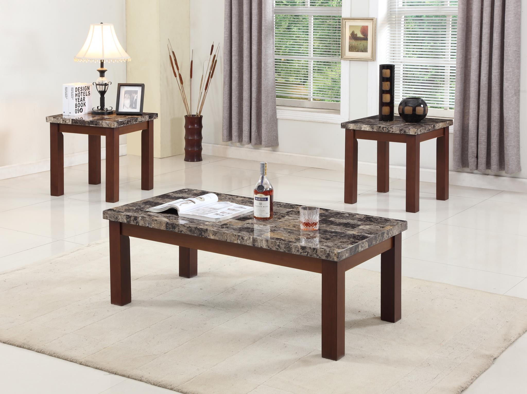 Faux Marble Top 3 Piece Coffee Table Set