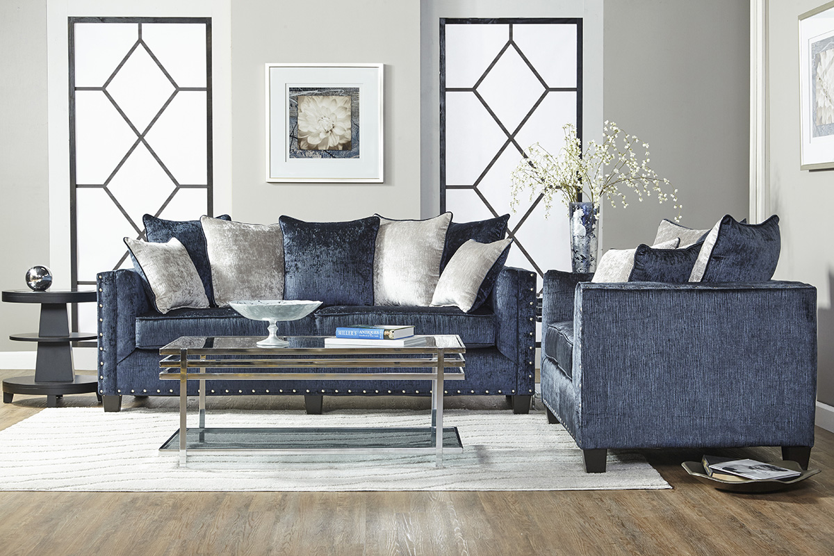 Blue Sofa & Love Seat with Nailheads