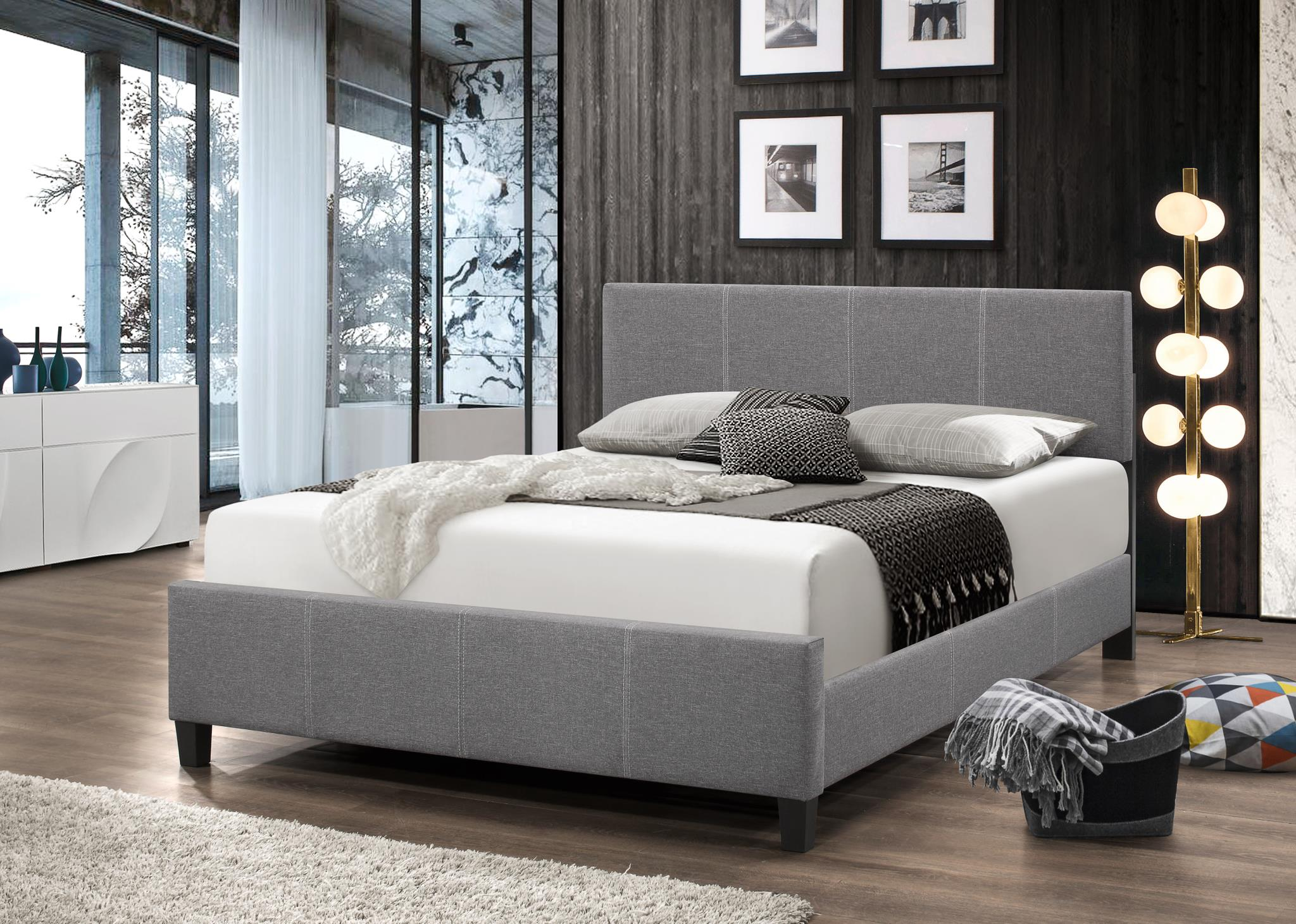 Grey Full Platform bed. Available in multiple sizes.