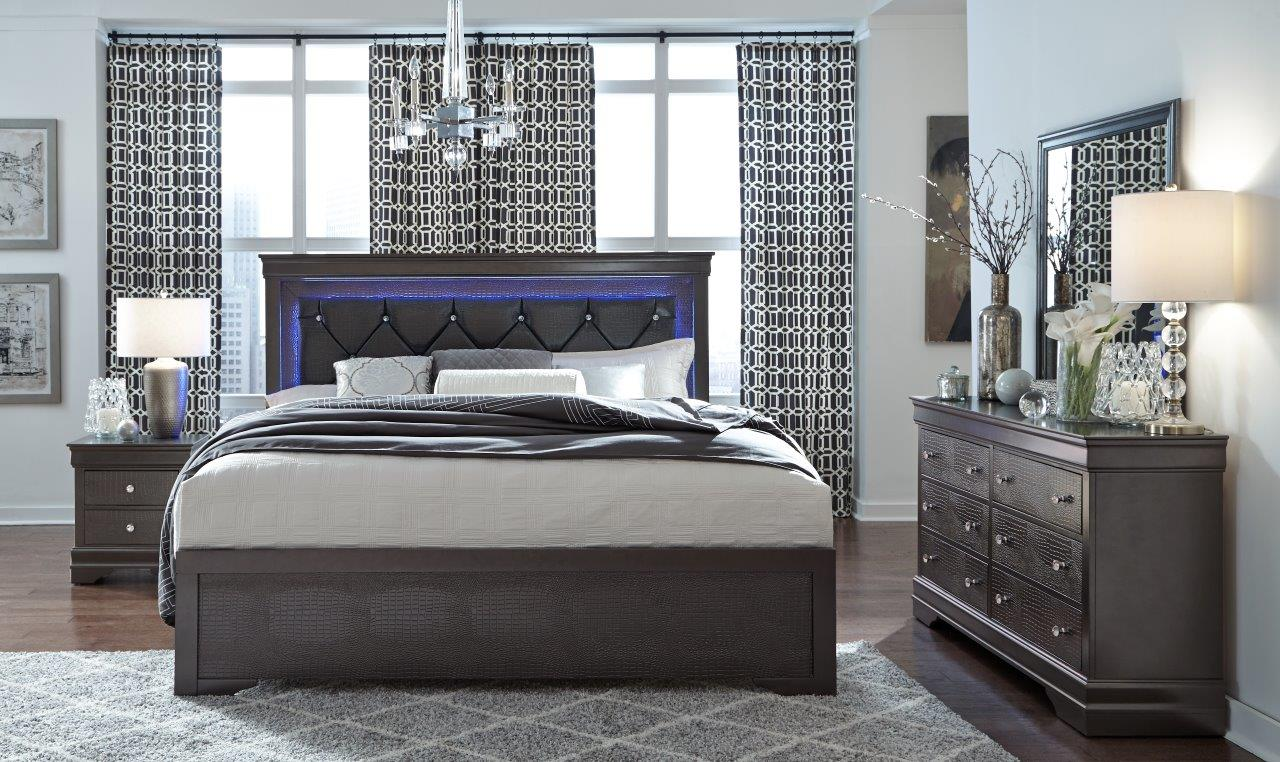Metallic Grey Queen Bed Set with LED Light Up Headboard