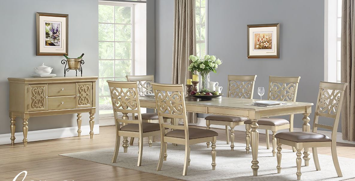 7 Piece Gold Color Dining Set
